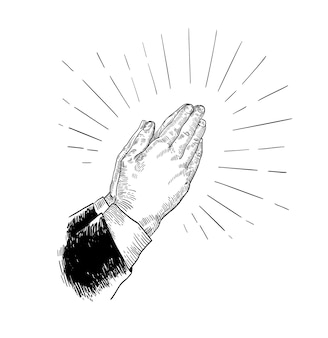 Mains de prière pliées dessinées avec des lignes de contour noires sur blanc