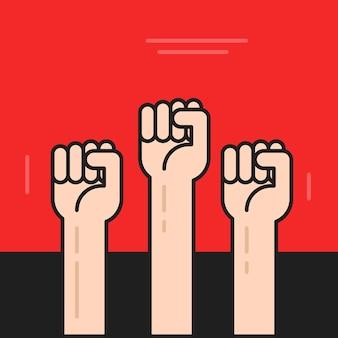 Mains de protestation contre la révolution avec les poings levés sur le contour de la ligne de dessin animé plat affiche vectorielle
