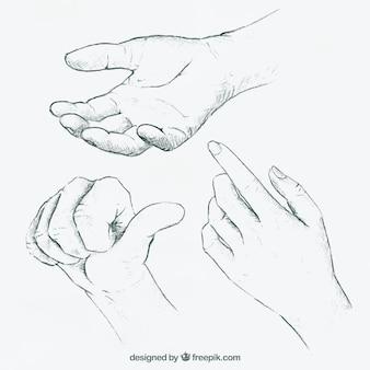 Mains réalistes avec la langue des signes