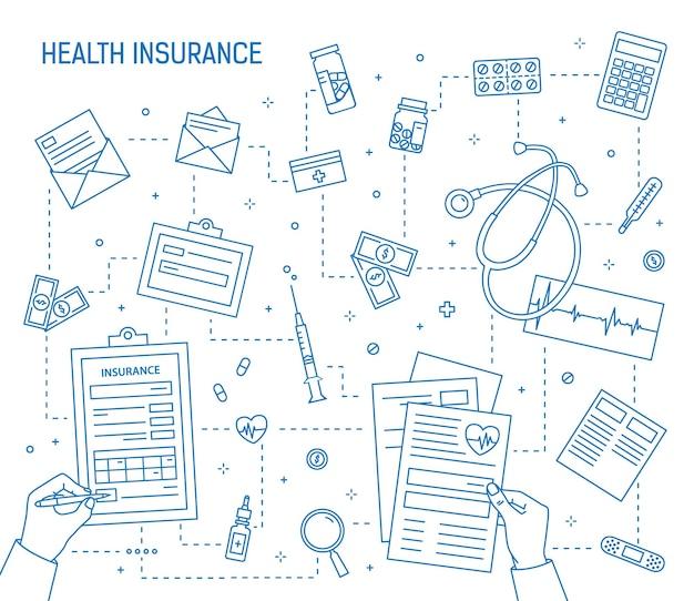 Mains remplissant le document d'assurance maladie entouré de médicaments, d'outils médicaux, de factures d'argent, de pièces de monnaie dessinées avec des lignes de contour