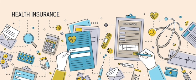 Mains remplissant des documents d'assurance maladie entourés de formulaires papier, de médicaments, de matériel médical et d'outils