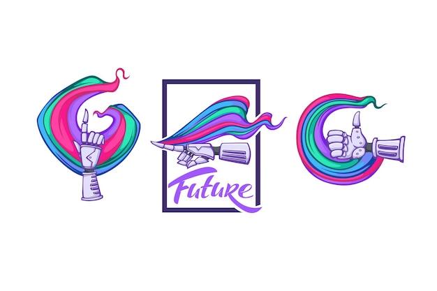 Mains de robot arc-en-ciel pour votre logo, étiquette, emblèmes