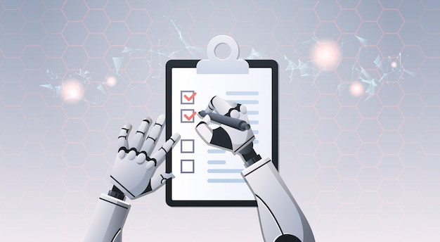 Mains de robot tenant la liste de contrôle
