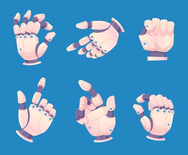 Mains robotisées. mécanisme bionique mécanique collection vectorielle de gestes de la main humaine. illustration électronique, bras d'ingénierie, équipement cyborg