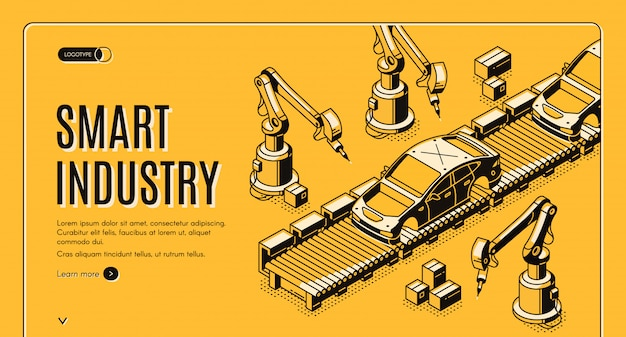 Mains de robots assemblent la voiture sur la bannière du processus de convoyeur