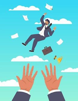 Mains sauvant chute homme d'affaires plat vector illustration soutien aux entreprises aide financière aide ...