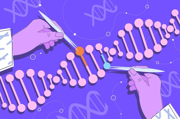 Mains scientifiques travaillant avec un chercheur en adn faisant une expérience dans le concept de diagnostic génétique de test adn en laboratoire