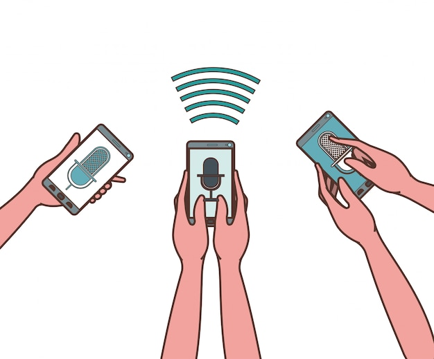 Mains avec smartphone et assistant vocal