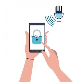 Mains avec smartphone et icône cadenassée