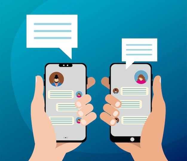 Mains avec smartphones et bulles de chat en illustration vectorielle écran