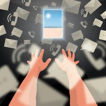 Les mains sont dessinées pour se reposer à travers les messages et les appels.