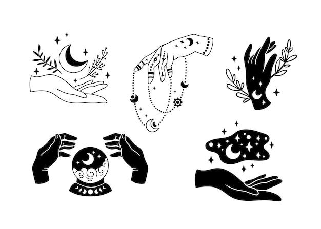 Mains de sorcière et cliparts de lune boho mystique croissant de lune et fleurs de sorcière céleste