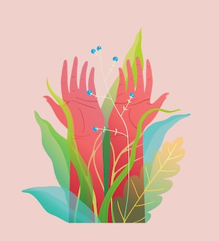 Des mains spirituelles et environnementales levées