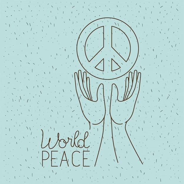 Mains avec symbole de la paix mondiale