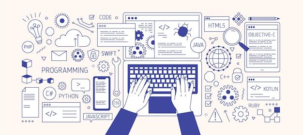 Mains tapant sur le clavier d'ordinateur portable, divers appareils électroniques et symboles. programmation, développement logiciel, codage