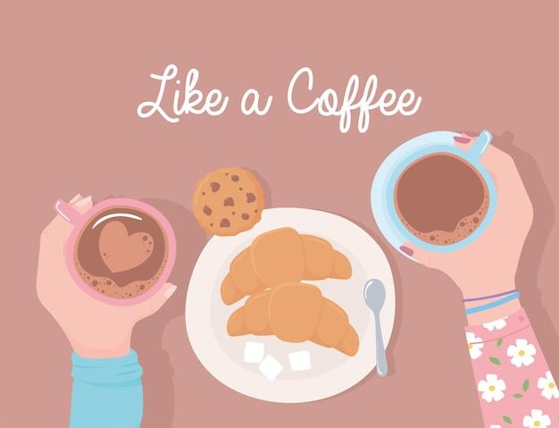Mains avec des tasses à café, biscuits, croissant et sucre, comme une illustration de café
