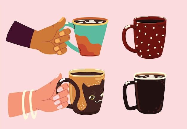 Mains et tasses à café