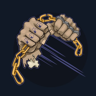Des mains avec des tatouages et des poings américains cassent la chaîne en métal
