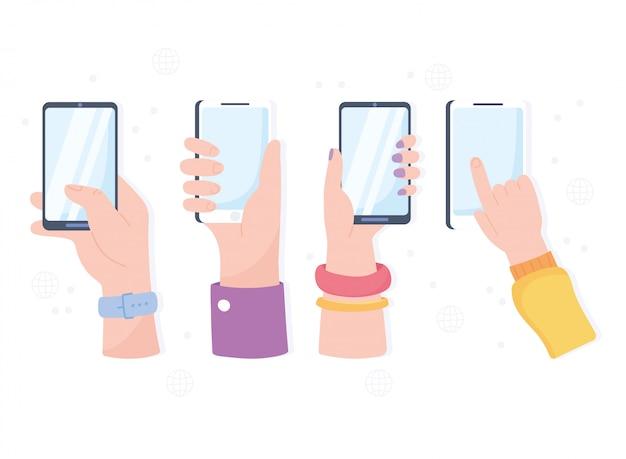 Mains avec les technologies et le système de communication de réseau social des appareils smartphone