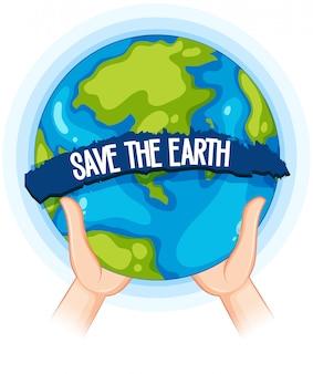 Mains tenant une affiche de la terre