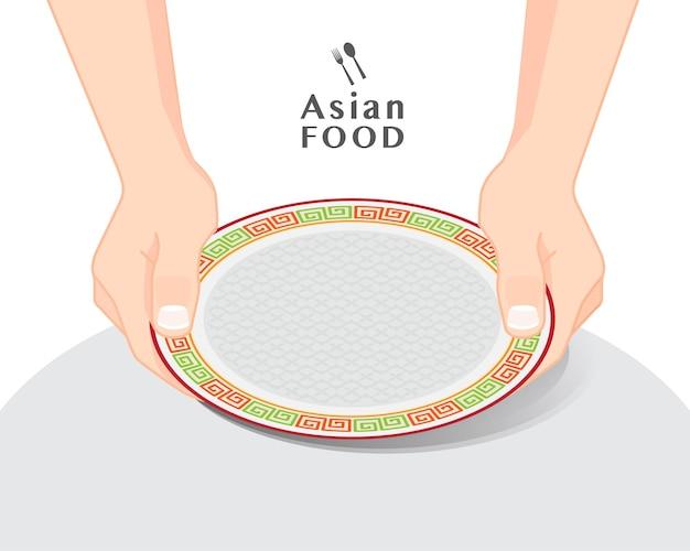 Mains tenant une assiette vide sur une table, illustration vectorielle isolée