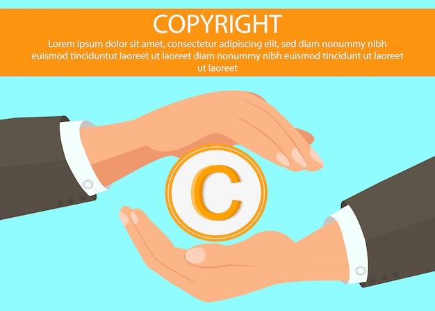 Mains tenant la bannière web symbole du droit d'auteur