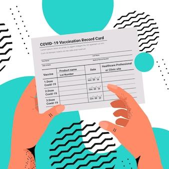 Mains tenant la carte d'enregistrement de vaccination covid-19 passeport d'immunité mondiale certificat pcr de réinfection sans risque
