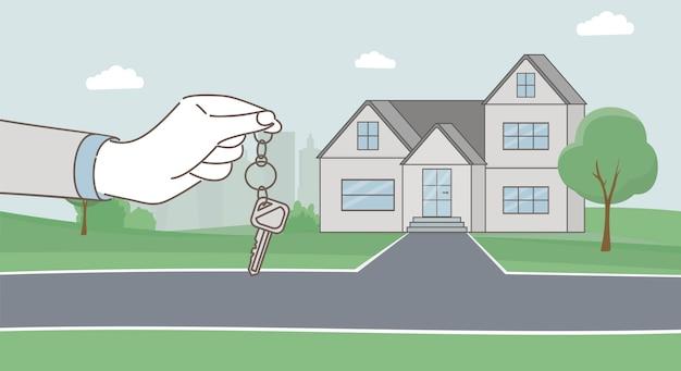 Mains tenant les clés et illustration de dessin animé de maison de campagne moderne. prêt hypothécaire, louer un concept de maison.
