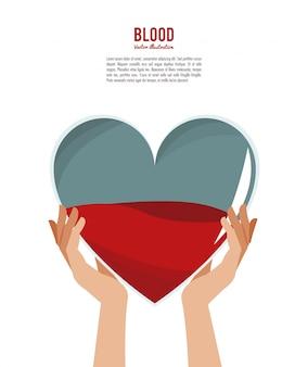 Mains tenant le coeur de sang