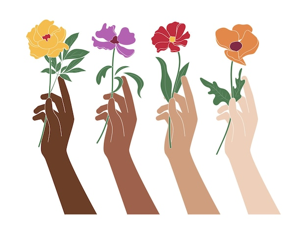 Mains tenant des fleurs démontrant l'égalité