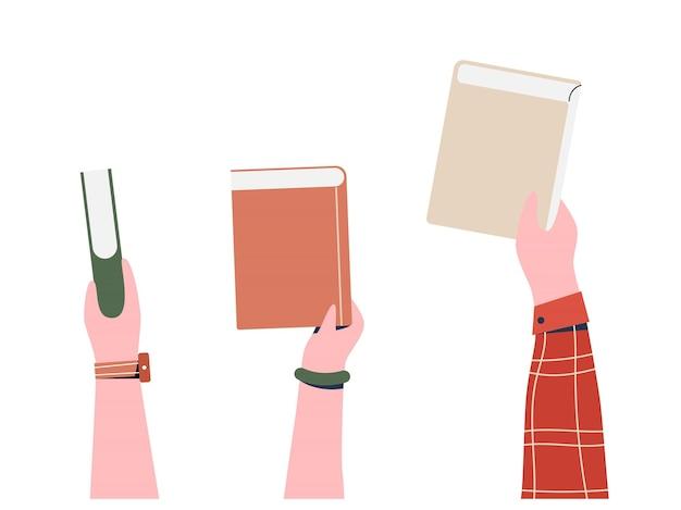 Mains tenant des livres