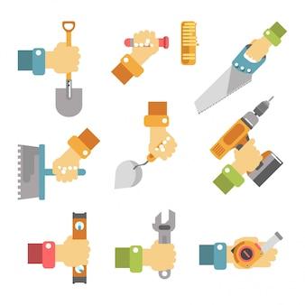 Mains tenant des outils affiche de vecteur coloré sur blanc