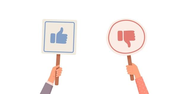 Mains tenant des pancartes avec des goûts et des aversions. votes des juges. retour d'information. mains tenant aime et n'aime pas les signes. illustration vectorielle