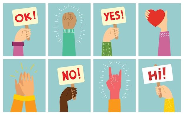 Mains tenant un signe différent dans le design plat moderne et minimaliste. oui ou non concept.