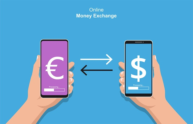 Mains tenant le smartphone faisant le concept de transactions. illustration de change en ligne