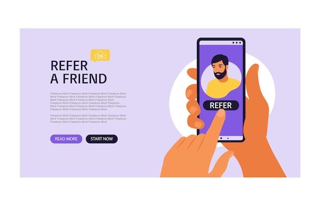 Mains tenant le smartphone avec un profil de médias sociaux homme ou un compte d'utilisateur.