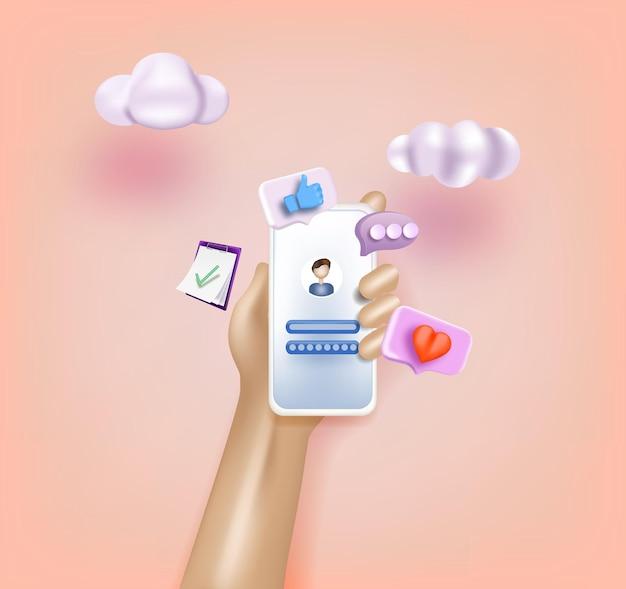 Mains tenant le téléphone avec chat sms sur l'écran du téléphone portable d illustrations vectorielles web