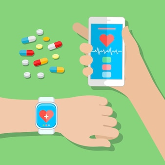 Mains tenant un téléphone tactile et une montre intelligente avec capteur de santé d'application mobile. illustration vectorielle design plat