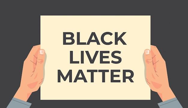 Mains tenant la vie noire comptent campagne de sensibilisation à la bannière contre la discrimination raciale de la couleur de peau foncée