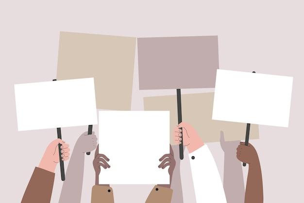 Mains avec le thème des pancartes