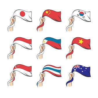 Mains tiennent des drapeaux illustration