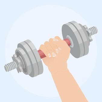 Mains tiennent des haltères avec illustration d'équipement de gym