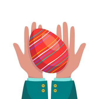 Les mains tiennent un œuf de pâques rouge. décorations printanières festives. les palmiers offrent un cadeau. télévision illustration vectorielle