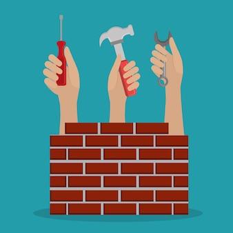 Mains travailleurs avec des icônes en construction