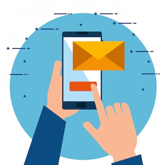 Mains utilisant un smartphone en envoyant un email