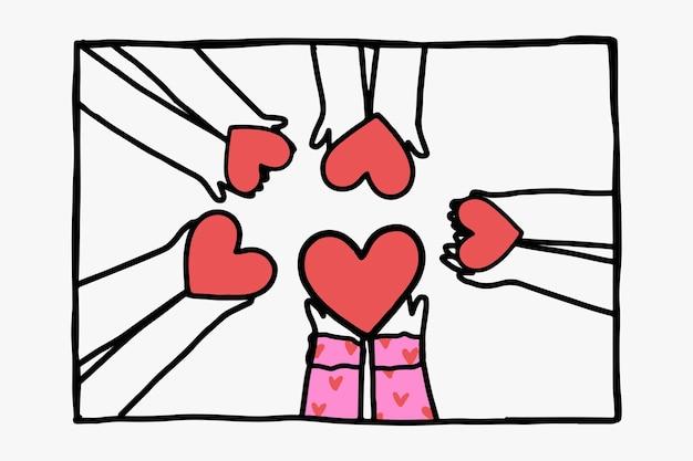 Mains de vecteur de griffonnage de charité partageant des coeurs