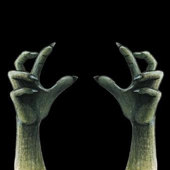 Mains de zombie d'horreur aquarelle