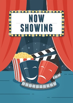 Maintenant, montrant le cinéma. peut être utilisé pour flyer, affiche, bannière, annonce et fond de site web