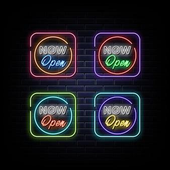 Maintenant ouvert signe au néon symbole au néon