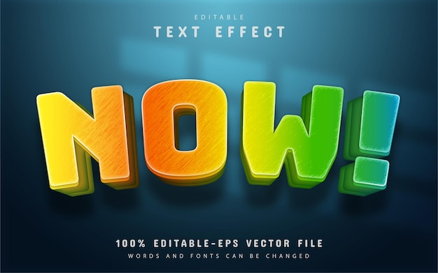 Maintenant texte, effet de texte de style dégradé coloré